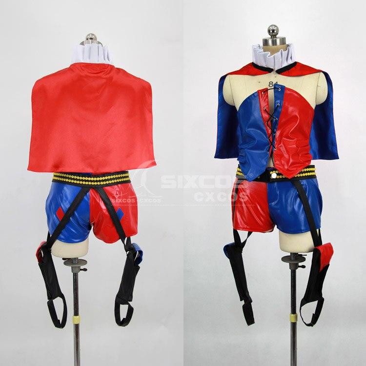 Jeu Batman: Arkham City Harley Quinn Cosplay Costumes rouge Bule Combat uniforme S-XL ensemble complet en Stock ou personnalisé-faire n'importe quelle taille