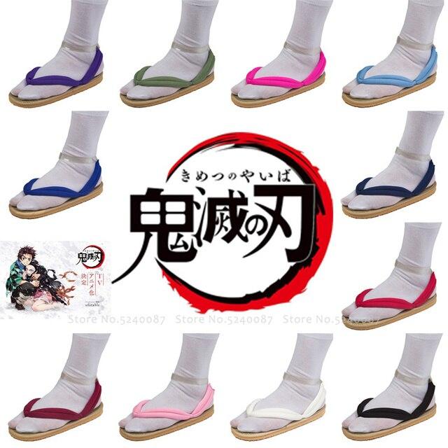 Anime Cosplay Kamado Nezuko Geta takunya iblis avcısı Kimetsu hiçbir Yaiba sandalet ayakkabı Kamado Tanjirou Agatsuma Zenitsu Flip flop