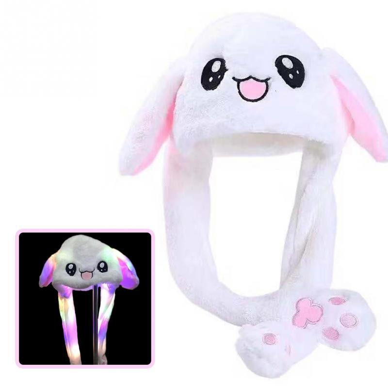 Funny Moving Hat Rabbit Ear Pluche Sweet Sweet Airbag Cap Lighting Hat Shine Can Move Cap Party Oor Squeeze Bunny Winter Hot Hat