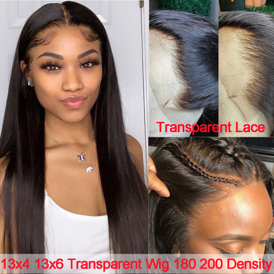 13x6 Lace Front Human Hair Wigs 13x4 HD Transparent Lace Frontal Wig Peruvian 180 200 Density Straight Lace Front Wig Preplucked
