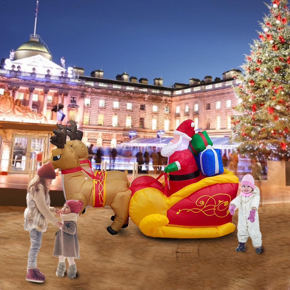 Aufblasbare Weihnachten Elch Schlitten Santa Claus Weihnachten Im Freien Ornamente Weihnachten Neue Jahr Party Home Shop Hof Garten Dekoration - 2