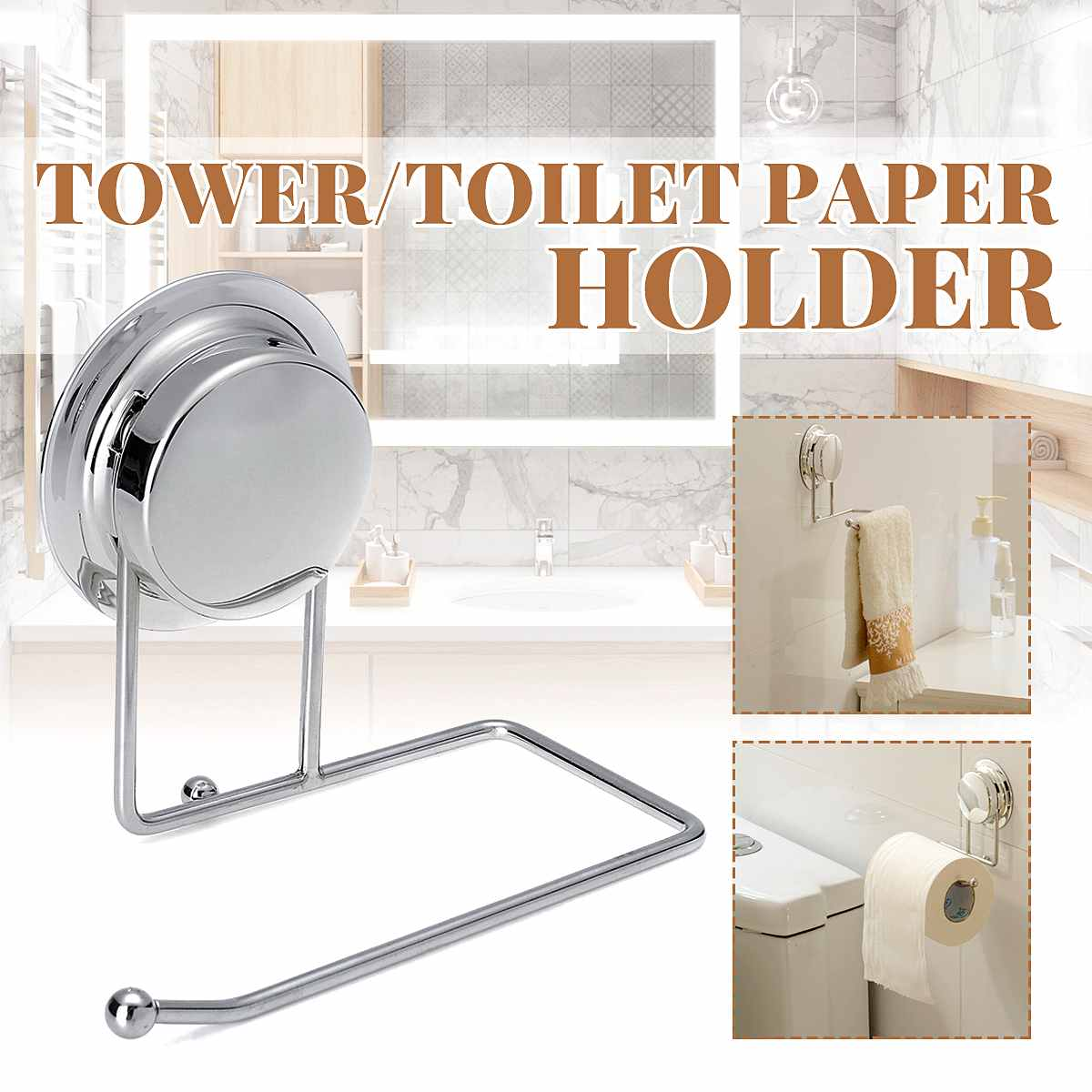 Toilet Kitchen Roll Paper Holder Stainless Steel Reusable Suction Cup Towel Ho Rack Rail Bathroom Home Storage Accessories