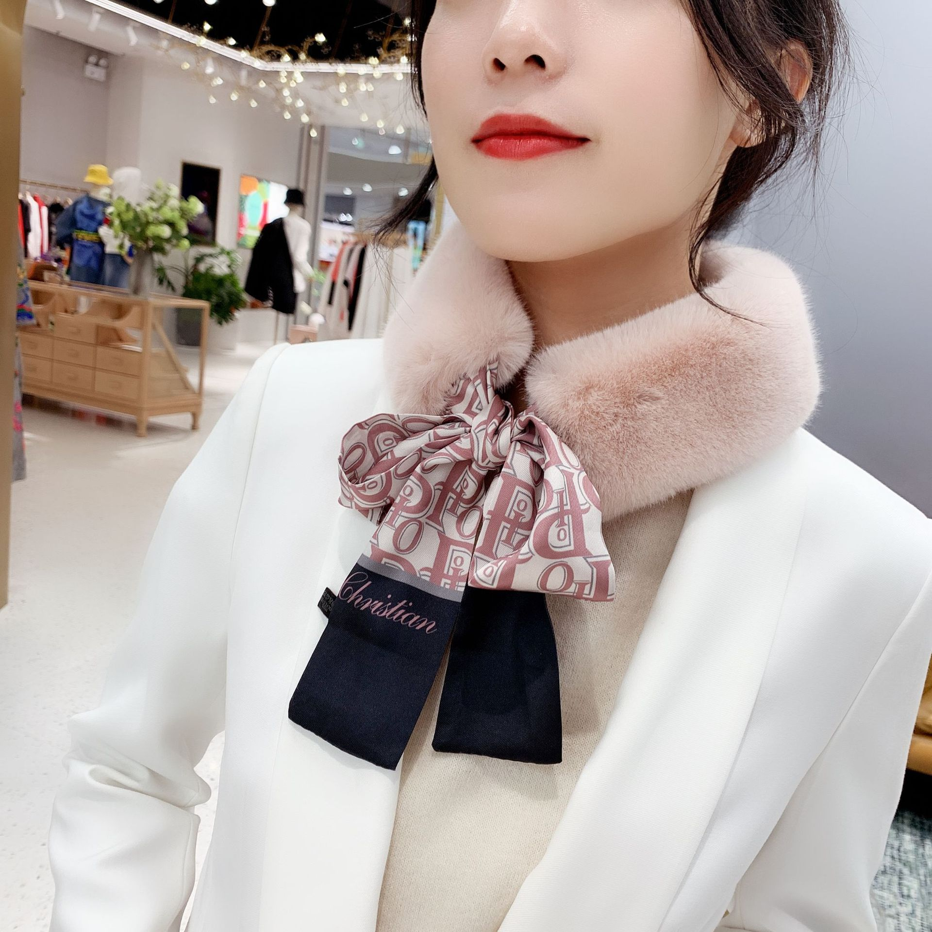 New Winter Scarf Plaid Print Fur Collar Scarf Female Winter Plush Scarf Korean Fashion Faux Rabbit Hair Keep Warm