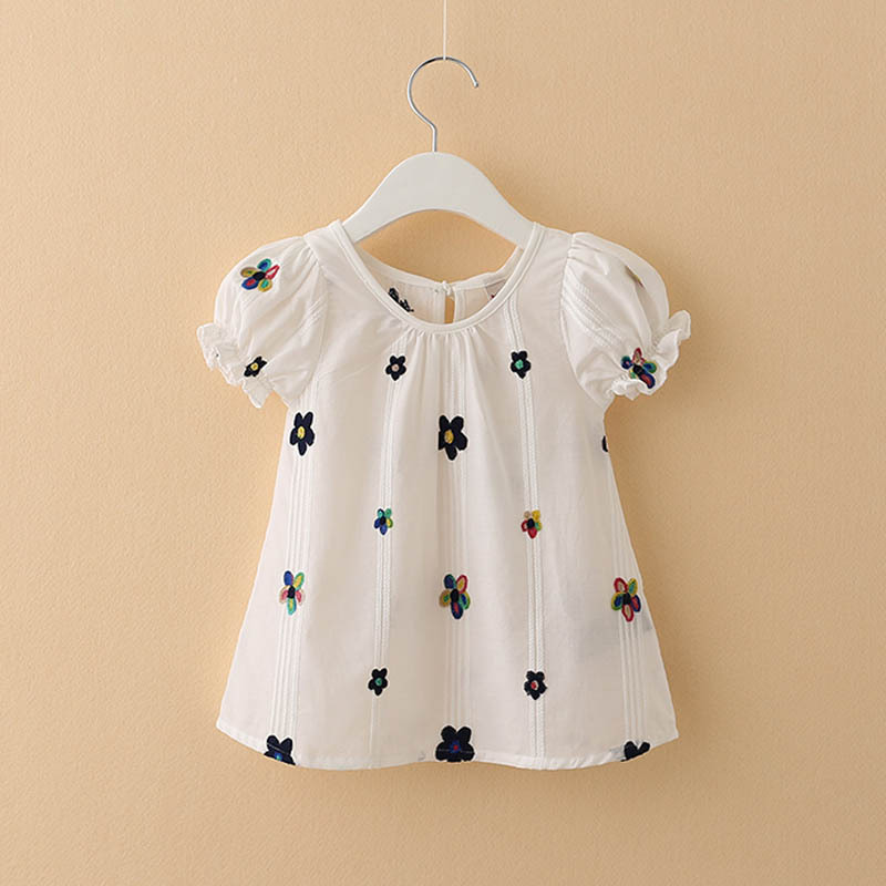 Girl Short Sleeve T-shirt Children's Cotton Embroidered Top Kids T-shirt  Kids Clothes  Girls Shirts
