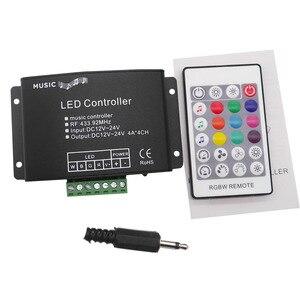 Image 4 - 24Keys RGB/RGBW müzik LED denetleyici DC12V 24V RF uzaktan ses sensörü ses ses kontrolü için RGB RGBW LED şerit ışık
