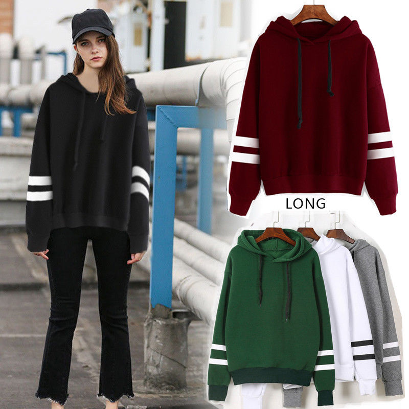 Womens Long Sleeve Hoodie Sweatshirt Sexy 2019 Arrival Hooded Pullover Tops Casual Ladies Top
