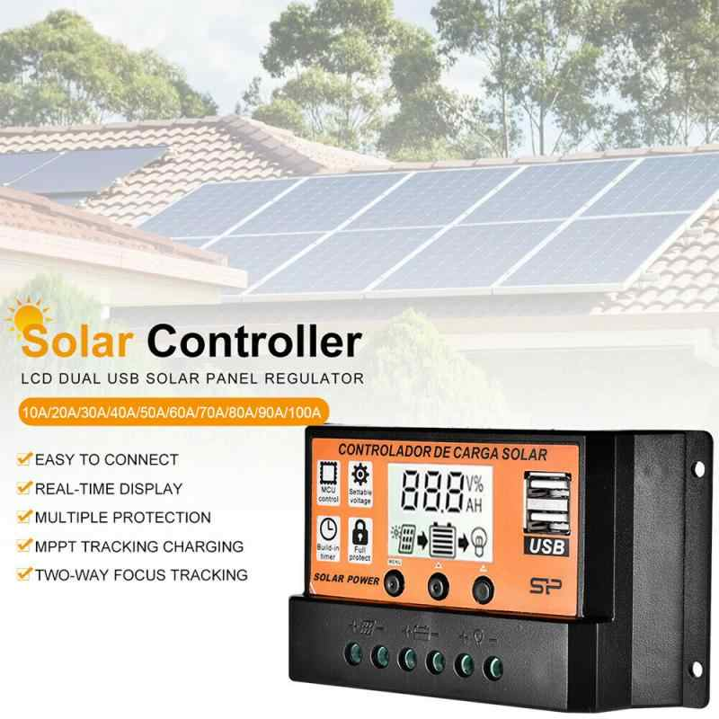 Solar Panel Charge Controller Regulator 12V//24V Auto Dual USB 10A-100A Battery