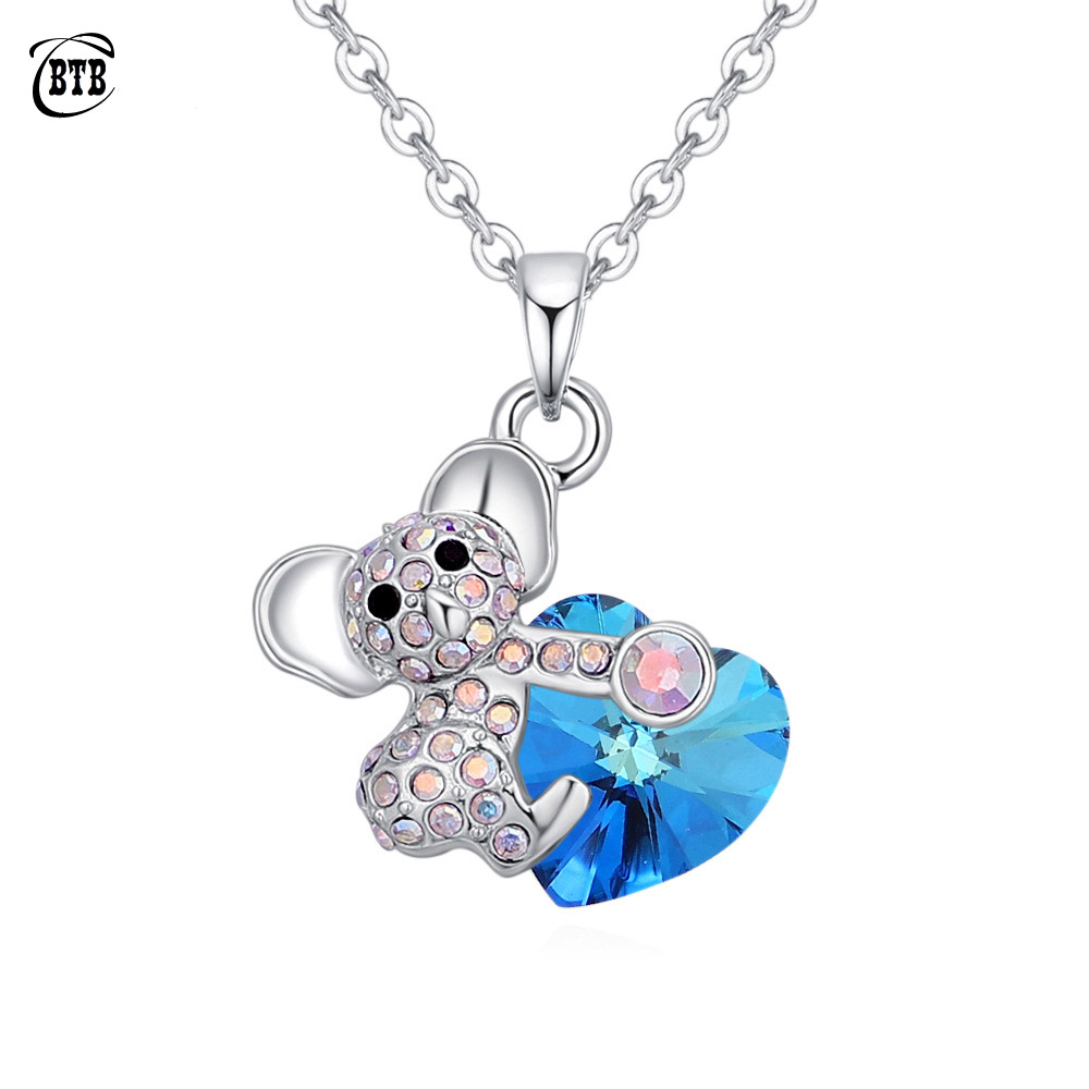 Fashion Love Heart <font><b>Koala</b></font> <font><b>Bear</b></font> <font><b>Necklaces</b></font> Pendants Crystals From Girls Women Jewelry Mother's Gifts For Couple Valentine's Day image