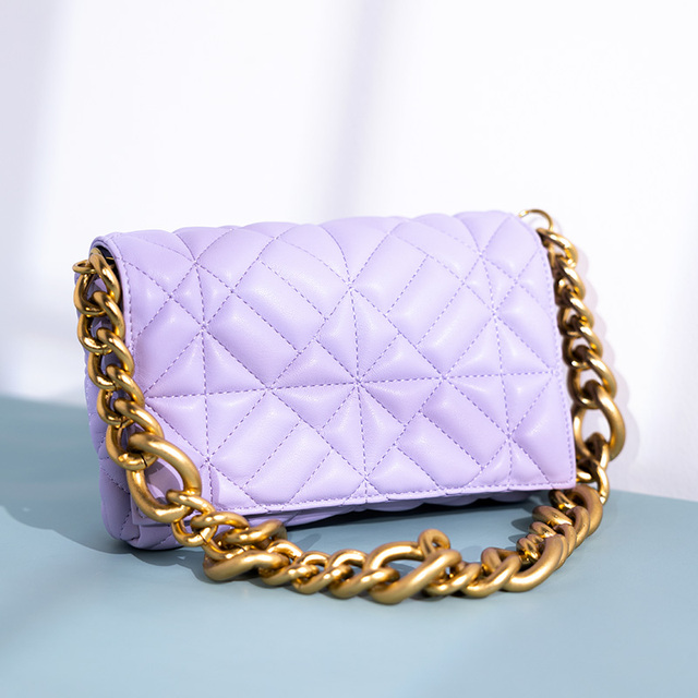 Branded Women's Shoulder Bags 2020 Thick Chain Quilted Shoulder Purses And Handbag Women Clutch Bags Ladies Hand Bag 1