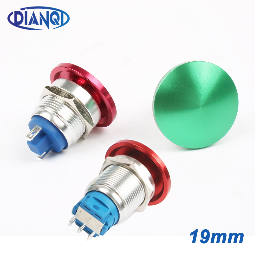 19mm Metal aluminum mushroom head switch Push Button Switch Momentary self locking 1NO Car press button 2pin terminal 19MG/L.F.C-in Switches from Lights & Lighting