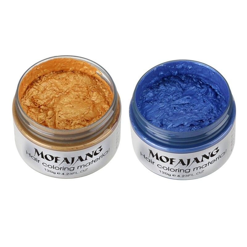 Tintura de Cera Pasta de Tintura de Cabelo Cor do Cabelo Mofajang Estilo Produtos Vez Moldagem Cera Compõem Azul & Ouro 2x Uma Mod. 112004