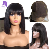 Luffy 13x6 Short Bob Lace Front Human Hair Wigs With Bangs Bleached Knots Indian Remy Hair 130 150 Density Bob Wig For Women