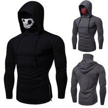 Scary Halloween Horror Demon Grim Reaper Costume Mens Skull Skeleton Print Pullover Tops Coat Mask Cotton Hoodie Hooded Sweater