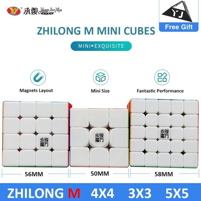 Original YJ Zhilong Mini 3x3 M 4x4 M 5x5 M Magnetic Speed Cubes Small Size YongJun Zhilong Magico Cube Puzzle Toys Magnetic Cube 1