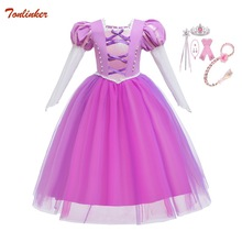 Chirtmas Disfraz de princesa Rapunzel para niña, con guantes y Diadema, vestidos de tutú, Cosplay, Halloween, fiesta de cumpleaños, vestido disfraz