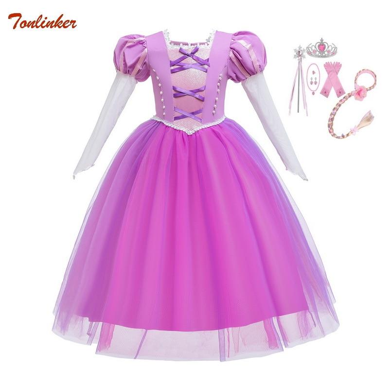 Chirtmas Girls Princess Rapunzel Costume With Headband Gloves Tutu Dresses Cosplay Halloween Birthday Party Dress Fancy Dress