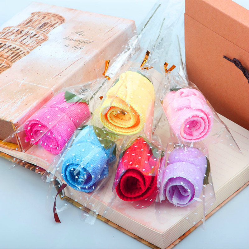 20*20cm Home Textile candy color rose modeling fiber small Cake Towel for Event Party Favors 30pc/lot