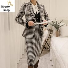 New Formal Office Ladies Suits Bodycon Wrap Blazer Outfits Business Woman Slim Fit Jacket Set Plaid High Waist Skirt Suit(China)