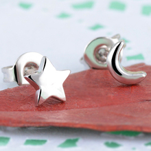 925 Sterling Silver  Handcrafted Asymmetric Stars and Moons Classic Personality Trendy Earrings Ladys Mini Pentagon Accessories
