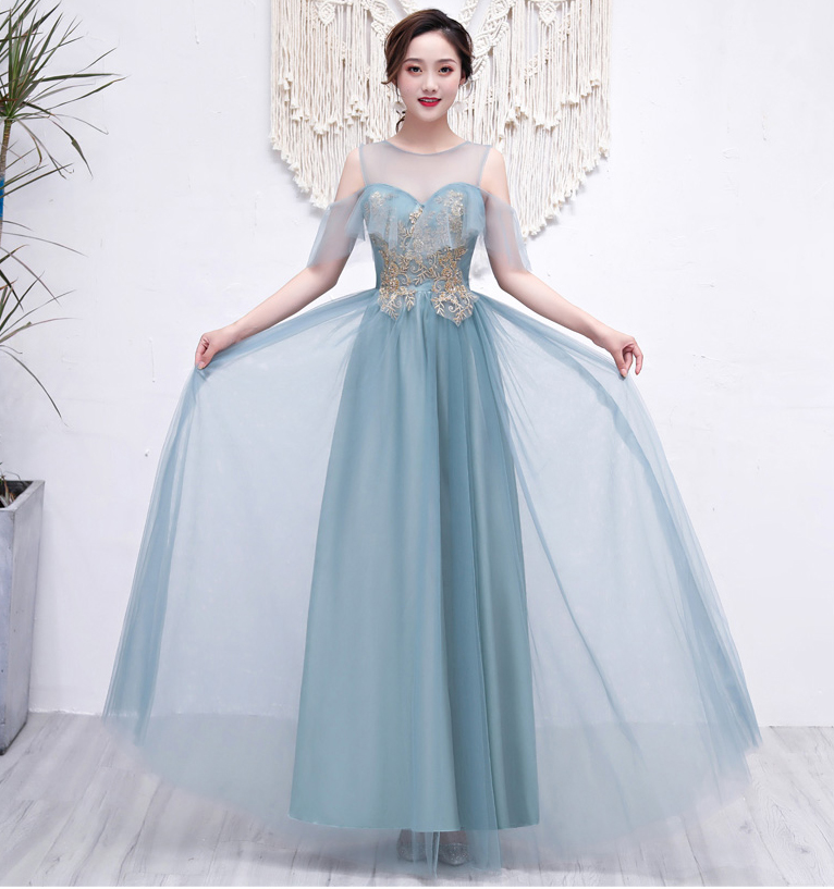 Maid Of Honor Dresses For Weddings Vestido Largo Sirena Gray Green Bridesmaids Dress Elegant O-Neck Long Prom Dress Sexy Sister