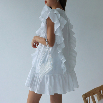 Ruffles Straight Dress Women Cotton Vintage Summer Party Plus Size Loose O-Neck Butterfly Sleeve Elegant Cocktail