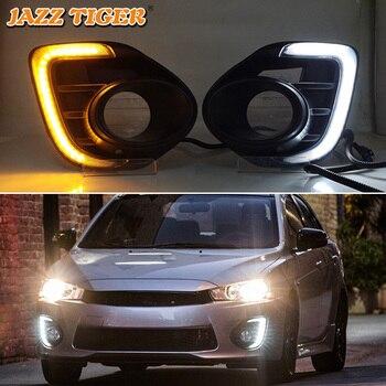 JAZZ TIGER Halogen Fog Lamp 12V Car DRL With Yellow Signal LED Daytime Running Light For Mitsubishi Lancer 2016 2017 2018 2019
