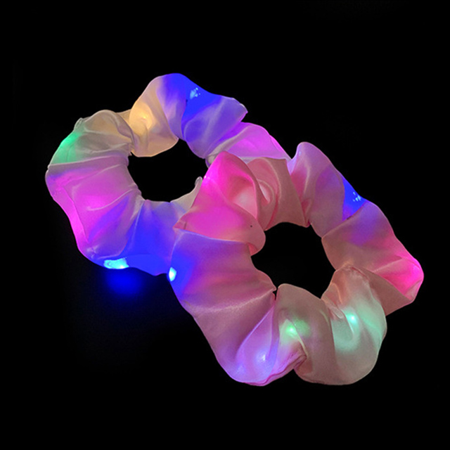 2020 New Arrival Girls LED Luminous Scrunchies Hairband Ponytail Holder Headwear Elastic Hair Bands Solid Color Hair Accessories 3