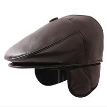 New Winter Beret Caps For Men PU Leather Solid Beret Hat British Retro Men Thicken Flat Top Cap Boina Hat