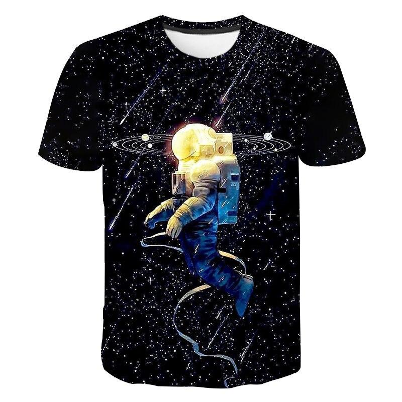 Astronauta 3d impressão t-shirts universo espaço masculino moda casual streetwear tripulação pescoço t camisa chilren crianças menino menina t topos