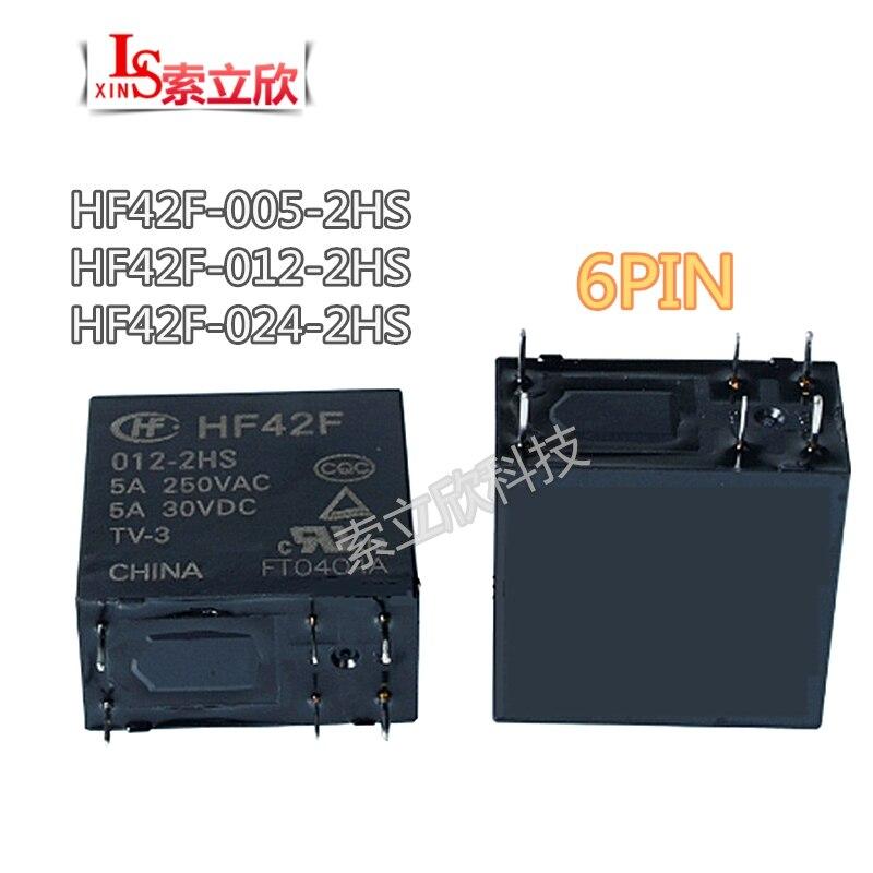 PCS NOVO relé HF42F-005-2HS 10 HF42F-012-2HS HF42F 012 2HS HF42F-024-2HS 5A 250VAC 5V 12VDC 24V 6PIN alta qualidade relé De Potência