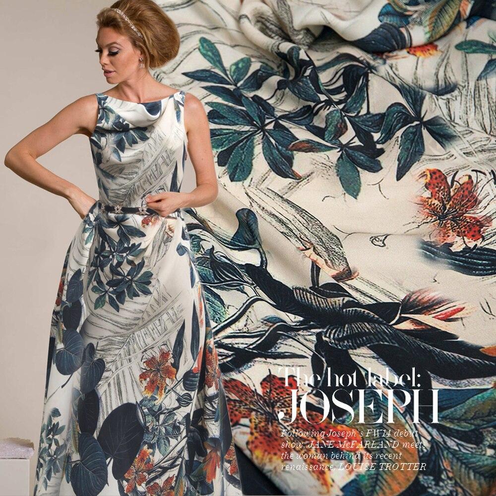 50cm High Quality Silk DIY Girl Dress Dress Dress Fabric Fashion Plant Floral Fabric