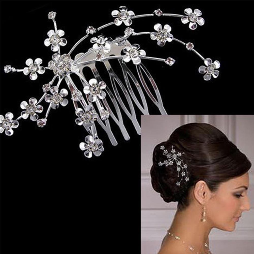 Crystal Rhinestone Plum Blossom Flower Hair Comb Wedding Bridal Tiara Prom Hair Ornaments Disk Hairpin