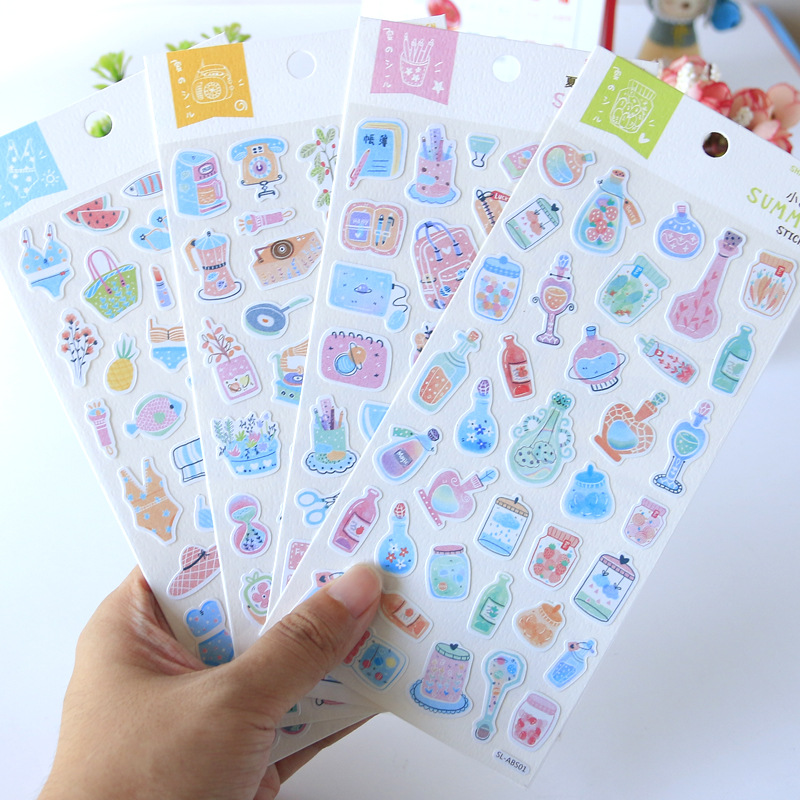 Watercolor Summer Decorative Stationery Stickers Scrapbooking DIY Diary Album Stick Lable