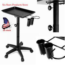 US Salon Trolley Tray Cart w/ Wheels Beauty Tool Holder for Hair Stylist Tattoo