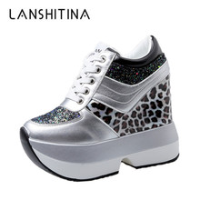 Women Ankle Boots 2019 Autumn High Platform Sneakers Height Increasi Leather Shoes 10CM Heel Trainers Leopard