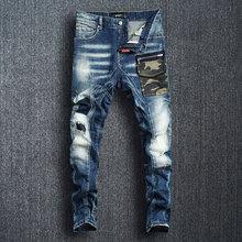 Italian Fashion Men Jeans Retro Blue Slim Fit Camouflage Patch Pocket Designer Hip Hop Streetwear Spliced Ripped