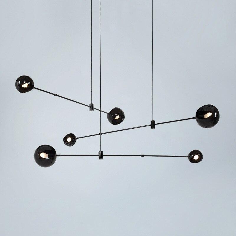 Vintage Loft الصناعية الثريا الذهب الأسود بار درج معلقة ضوء الطعام كرة زجاجية الرجعية الزجاج لوفت نجفة ذهبية
