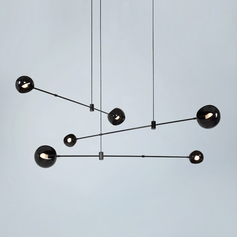 Vintage Loft Industrial Chandelier Black Gold Bar Stair Hanging Light Dining Glass Ball Retro Glass Loft Gold Chandelier