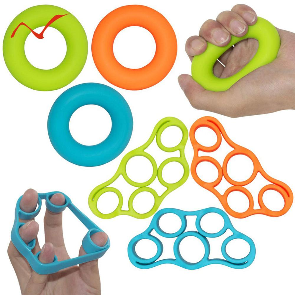 Galleria fotografica 2019 New Silicone Finger Gripper Strength Trainer Resistance Band Hand Grip Wrist Yoga Stretcher Finger Expander Exercise