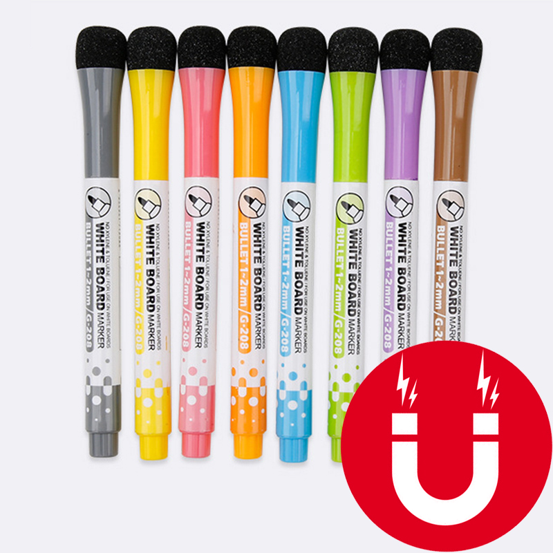 1 Set School Classroom Supplies Magnetic Erasable Whiteboard Pens Markers Dry Eraser Pages Children's Drawing Pen Board Markers