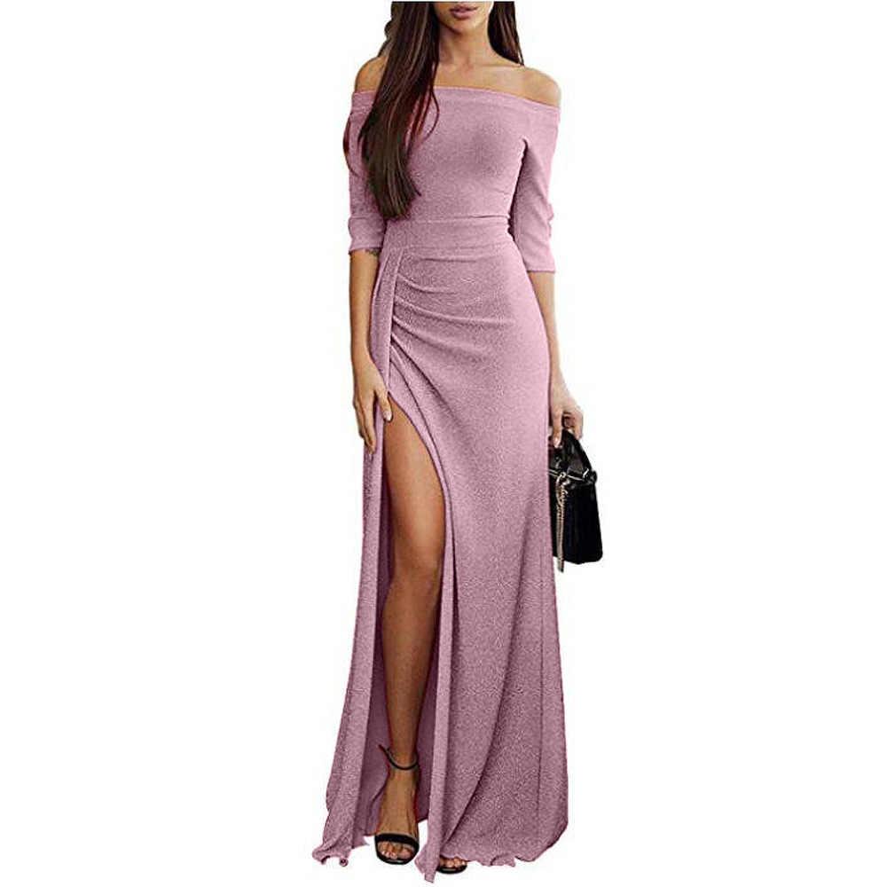 2019 moda Sexy kobiety hip owinięte jedno słowo kołnierz sukienka błyszczące sukienki sukienka koktajlowa sukienka i długie spódnica