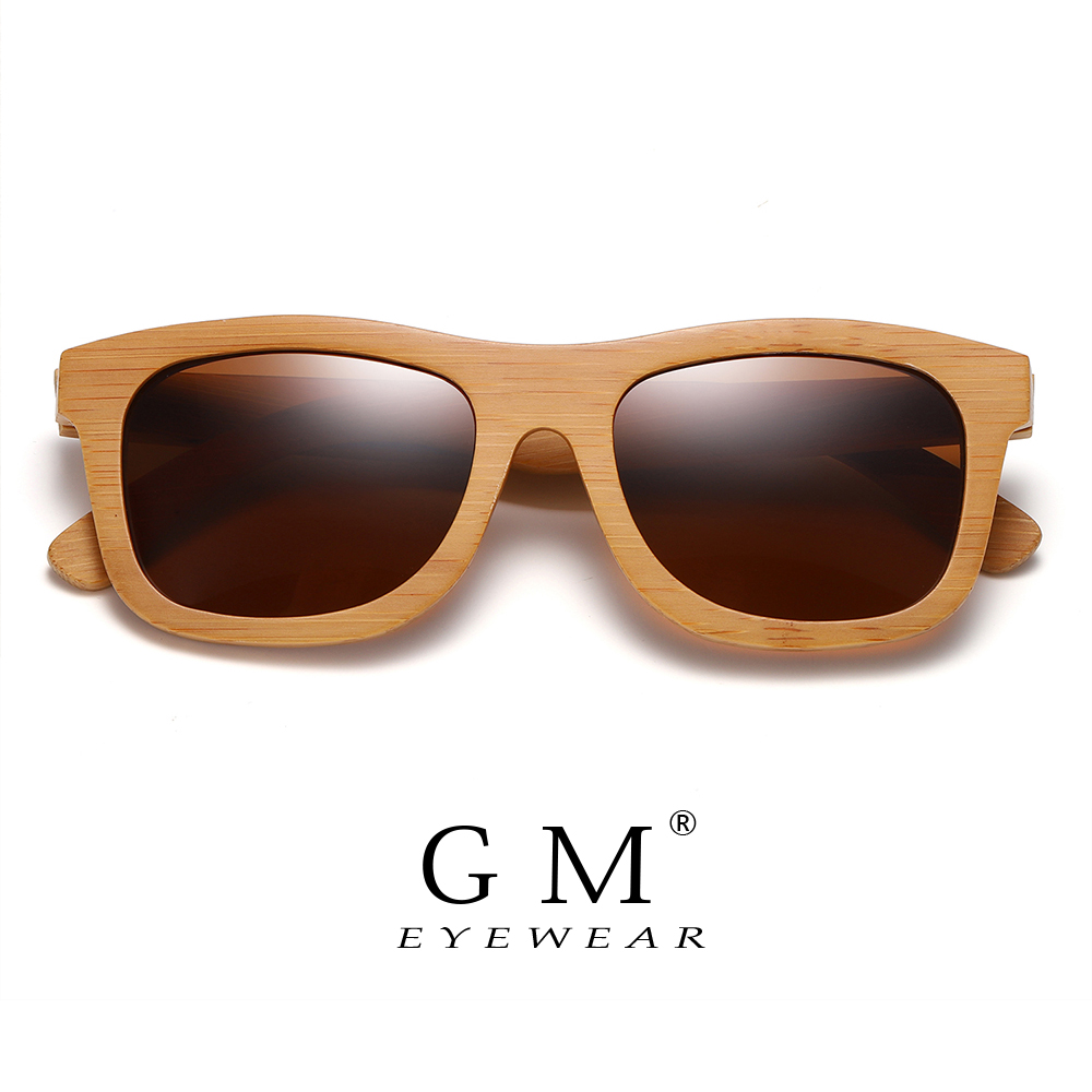 GM Natural Wooden Sunglasses Handmade Polarized Mirror Fashion Bamboo Eyewear Sport Glasses S1725