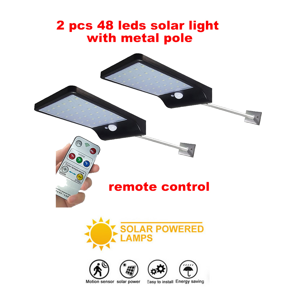 2/4pcs Night Light Solar Powered 48 LED Wall Lamp PIR Motion Sensor & Night Sensor Control Solar Light Garden Outdoor Lighting S