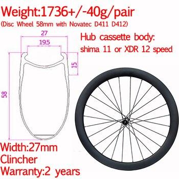Breite 27mm carbon rennrad disc räder 58mm klammer keramik cyclocross kies räder XD R front 12X 100 hinten 12x142-in Fahrrad-Rad aus Sport und Unterhaltung bei