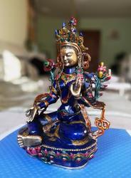 Tibetischen Cloisonné Bronze Grüne Tara Gott Kwan-yin Buddha Avalokiteshvara Statue