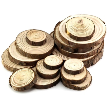1cm Thick 1 Pack Natural Pine Round Unfinished Wood Slices Circles With Tree Bark Log Discs DIY Crafts Wedding Party Painting image