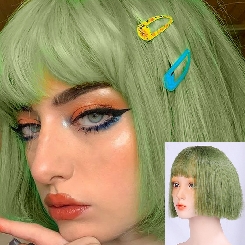 LUPU Short Bob Wig For Women Synthetic Green Hair High Temperture Fiber Lolita Wig With Bangs 12 Inches