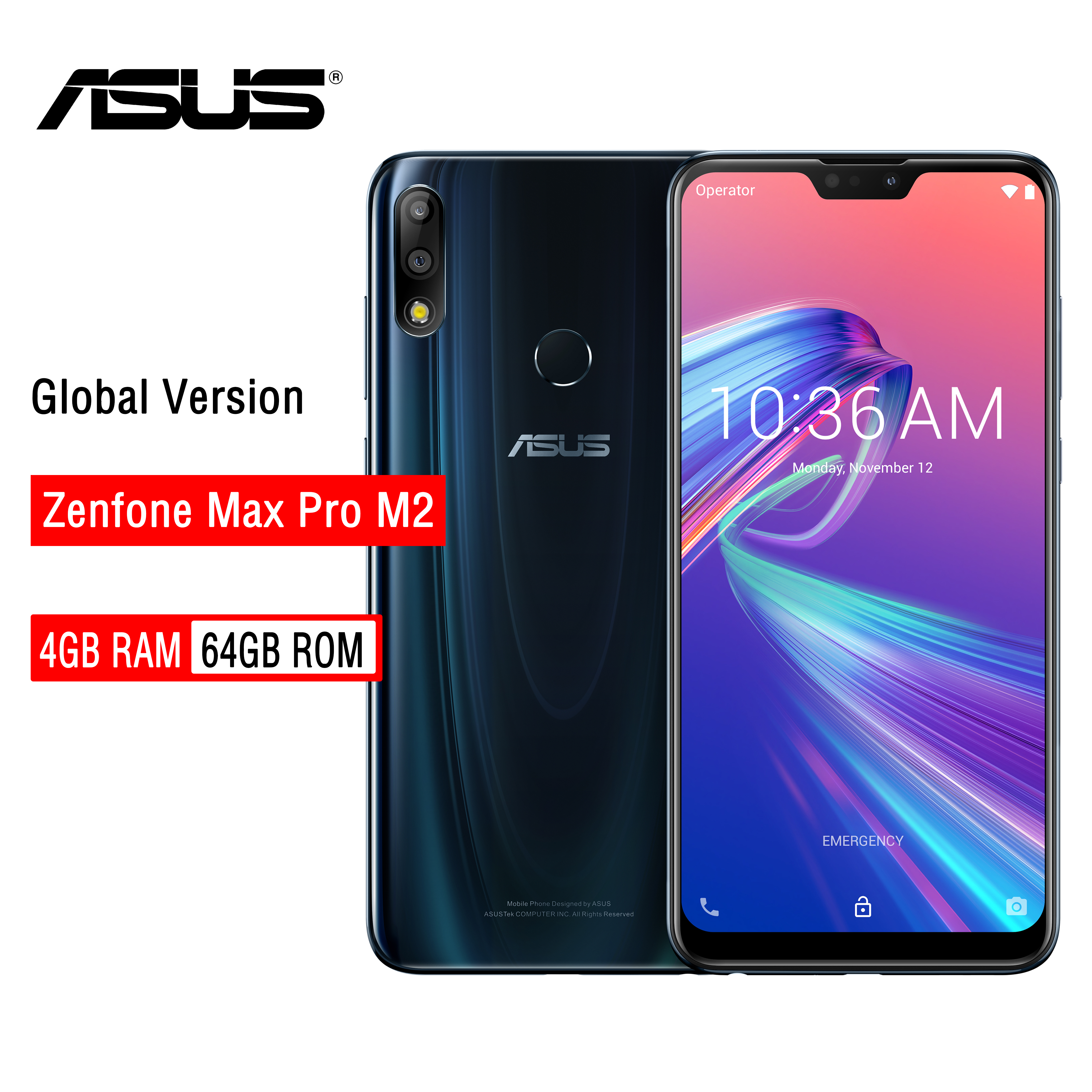 ASUS ZenFone Max Pro M2 ZB631KL 4GB RAM 64GB ROM NFC 6.3 inch 4G LTE Face ID 5000mAh Android 8.1Smartphone Gaming Phone