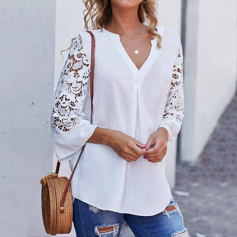 Celmia Summer Women White Blouse V neck Lace Shirts 3/4 Sleeve Sexy Hollow Out Tunic Tops Casual Loose Solid Office Blusas S-5XL(China)