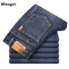 Algodão novo negócio clássico dos homens jeans preto azul verão primavera magro ajuste calças de alta estiramento moda magro calças masculinas